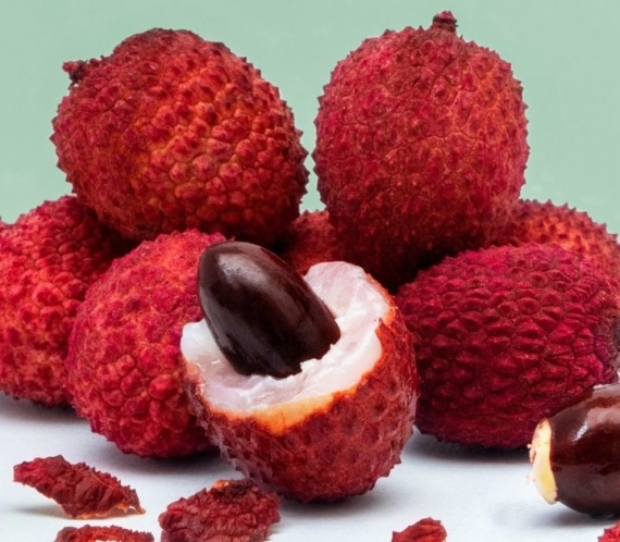 fresh and ripe lychees