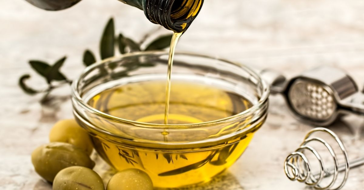a bowl of extra virgin olive oil